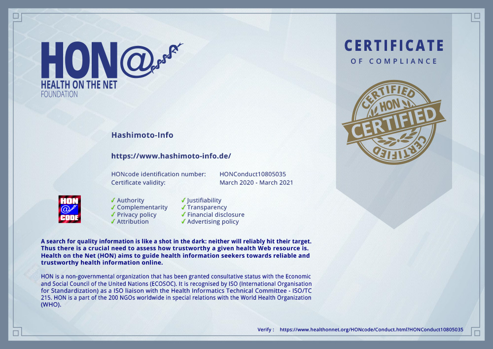 Hashimoto-Info.de erhält das HON-Zertifikat für vertrauenswürdige Gesundheitsinformationen